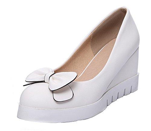 Correct Légeres Femme à Chaussures Matière Rond Tire Talon Blanc VogueZone009 Unie Couleur Souple Ptfwqxx