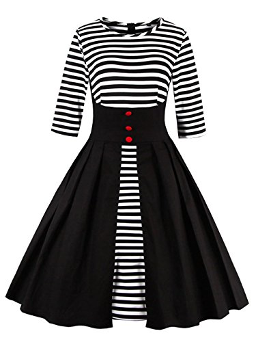 VKStar® Retro Herbst Abendkleid/Cocktailkleid mit Streifen Vintage 50er Rockabilly Swing Audrey Hepburn Kleid mit 1/2 Ärmel Schwarz XXL (Frauen Der 50er Jahre)