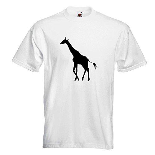 KIWISTAR - Giraffe Silhouette T-Shirt in 15 verschiedenen Farben - Herren Funshirt bedruckt Design Sprüche Spruch Motive Oberteil Baumwolle Print Größe S M L XL XXL Weiß