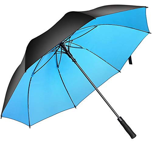BISONS Superbison Open Golf Umbrella Extra Extra Large - Paraguas Impermeables extragrandes de Gran tamaño (Circunferencia 155cm / diámetro 132cm, Negro/Azul)