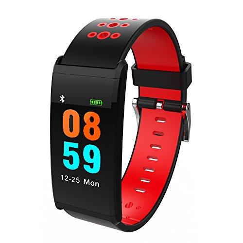 Muamaly Fitness Armband Mit Pulsmesser, Pulsmesser Wasserdicht Fitness Tracker Aktivitätstracker Pulsuhren Bluetooth Smartwatch Für iPhone Android Handy (Rot)