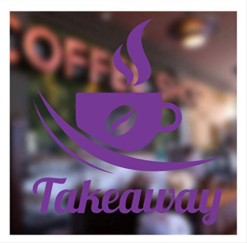 Llxy Kaffee Zum Mitnehmen Vinyl Fenster Zeichen Aufkleber Shop Kaffee Bar Pub Cafe Restaurant Logo Wandaufkleber Removable Home Decoration 57 * 62 Cm -