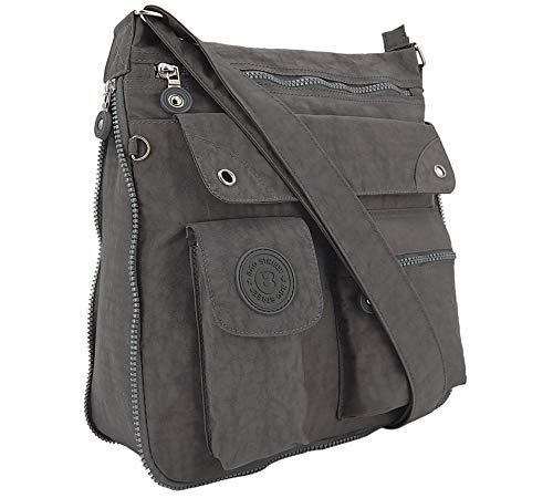 ekavale - leichte Damen-Umhängetasche - Praktische Crossbody-Handtasche - mit vielen fächern - Schultertasche | wasserabweisende Damentasche (Grau) -
