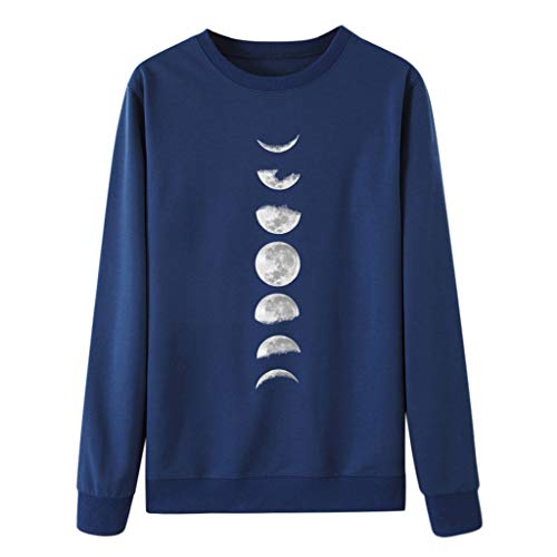 Damen Pullover Sweatshirt Moon Print Langarm Rundhals T Shirt Kontrast Loose Fit Tunika Tops Damen Freizeit Workout Bluse -