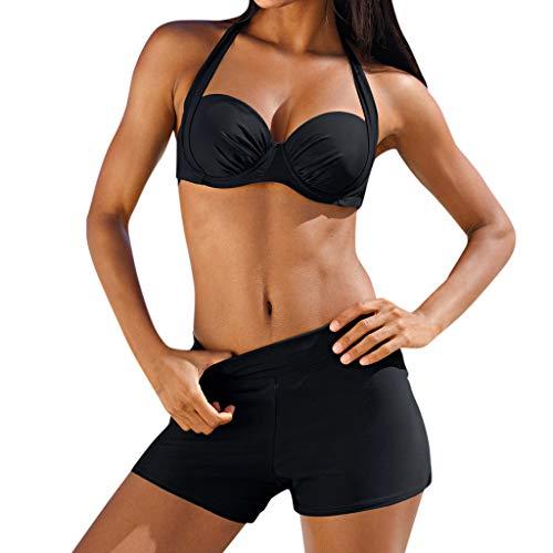 OIKAY Frauen Tankini Sets Zweiteiler Bikini Sets mit Surfen Kurze Shorts Bademode gepolsterte Tankini Set Sportlich mit Boy Shorts Bikini Badeanzug Bademode Baden -