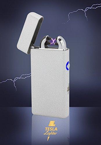 Tesla-Lighter T08 | Lichtbogen Feuerzeug, Plasma Double-Arc, elektronisch wiederaufladbar, aufladbar mit Strom per USB, ohne Gas und Benzin, mit Ladekabel, in edler Geschenkverpackung, Structured Silber