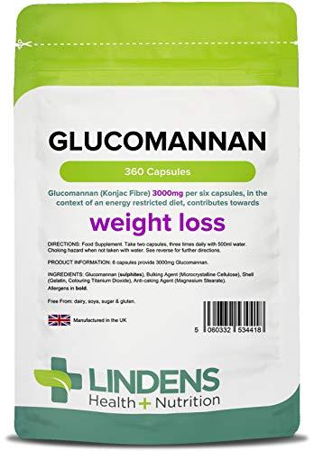 Lindens Capsule di glucomannano (fibre di Konjac) da 500 mg | 360 Confezione | Favorisce la perdita di peso contribuendo alla riduzione dell'appetito. È l'integratore dimagrante Lindens # 1