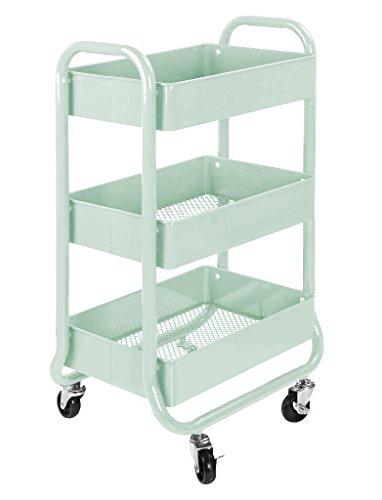 Urban Shop k6395173-Tier-Metall Rolling Cart, Minze