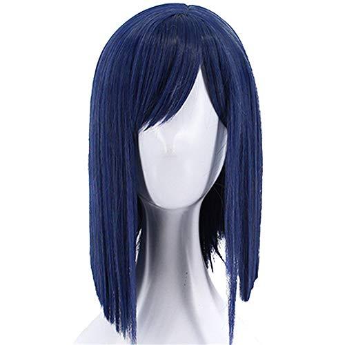 ZYC1 Gerade Blue Bob synthetische Cosplay Perücke hitzebeständige Faser Peruca für Halloween mit Side Bangs