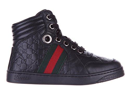 Gucci scarpe sneakers bambino alte pelle nuove nero EU 27 271264BLN501075