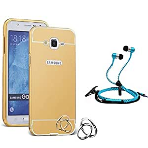 Droit Luxury Metal Bumper + Acrylic Mirror Back Cover Case For + Samsung E7 Stylish Zipper Handfree and Good QualitySound by Droit Store.
