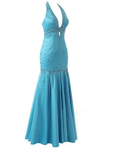 Himmel Blau Neckholder (Sarahbridal Damen Lang V-Ausschnitt Neckholder Abendkleider Rückenfrei Brautjungfernkleid SSD176 Himmel blau EU40)