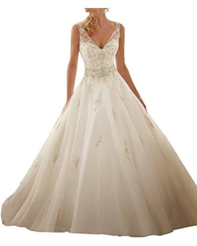 Milano Bride Exquitsit Glitzer Aermellos V-Ausschnitt Hochzeitskleider Brautkleider Brautmode Strass...