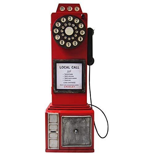 """Retro Vintage Aufbewahrungsschrank/CD-DVD Schrank """"Englisch nostalgisches Telefon"""" - rot"""