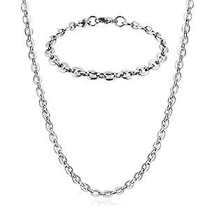 AmDxD Schmuck Edelstahl Armband Kette Set Herren Bohnenkette Silber 22CM