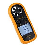 Amgaze Digital Anemometer LCD Wind Speed Gauge Handheld Air Flow Velocity Measurement Thermometer Device for RC Drones Helicopter Windsurfing Kite Flying Sailing Surfing Fishing (Battery Included)