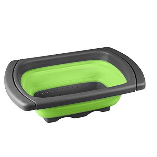 Vicloon Colander Set Quadra Faltbarer Zusammenklappbar Seiher Nudelsieb aus Silikon mit ausziehbare Griffe Leicht zu reinigen geeignet für die meiseten Gemüse/Filter/Gemüse/Frucht/Korb - Dampfer Gemüse Nudeln Und