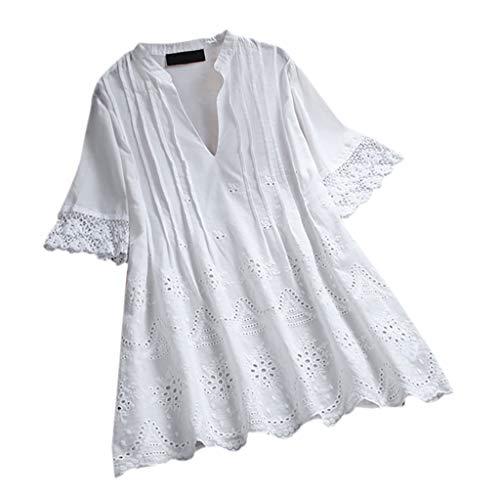 Zegeey Damen T-Shirt Bluse Vintage V-Ausschnitt Baumwolle Und Leinen Sommer LäSsige Lose Knopfleiste Solide Tunika Pullover Oberteil Tops Shirts (A5-Weiß,EU-40/CN-L)