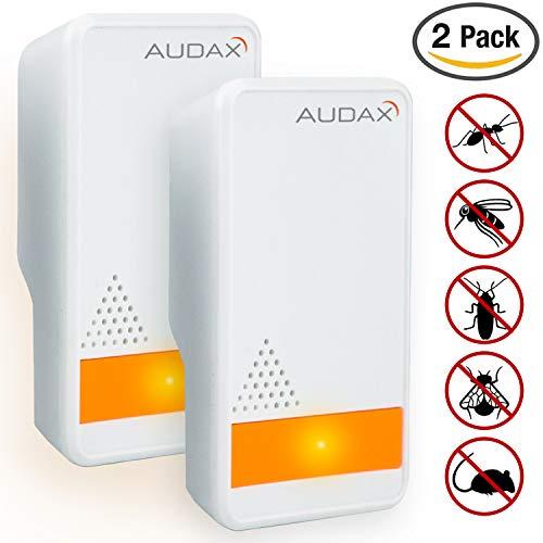 AUDAX Repelente Ultrasónico Mosquitos 2018 Control de Plagas para las Moscas, Cucarachas, Arañas, Hormigas, Ratas y Ratones, Insectos Antimosquitos Eléctrico Extra Fuerte para Interiores (2-pack)