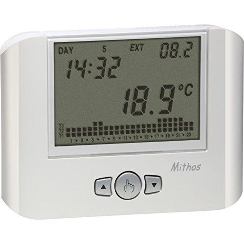 Vemer Cronotermostato da parete VE328100 MITHOS bianco a programmazione settimanale 3 livelli di temperatura impostabili durante l'arco della giornata Alimentazione 1 batteria 1,5V Funzionamento estate/inverno Cambio automatico ora solare/legale