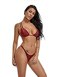 FITTOO Sexy Bikini Maillot de Bain Deux pièces Bandage Ajustable Coussinets  Amovible Push-up Soutient-Gorge de… 3c1d59a394f