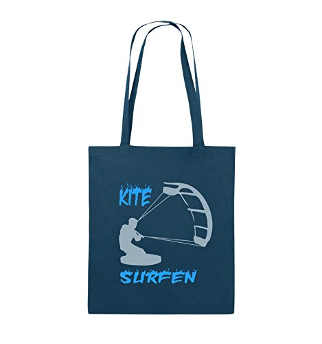 Comedy Bags - Kite Surfen - MOTIV 3 - Jutebeutel - lange Henkel - 38x42cm - Farbe: Schwarz / Weiss-Neongrün Navy / Eisblau-Hellblau