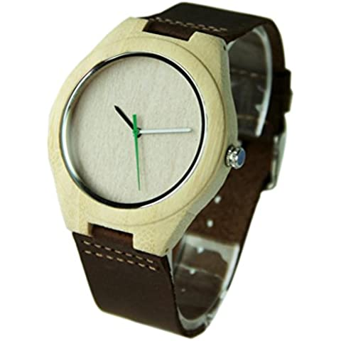 Malloom®Nueva llegada moda bambú de madera cuero de la PU relojes lujo hombres regalo (estilo 15)