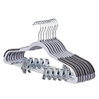 SONGMICS 12 Pack Trousers Hangers, with Clips, Non-slip, Heavy Duty, Premium Quality Plastic, 0.5 cm Thickness Space-saving, 360° Swivel Hook, for Trousers, Pants, Skirts, Dresses