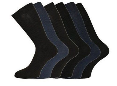 Mens Aler Big Foot - Loose Top - Large Size Socks - Size 11-14 - DARK Mixed Colours - 6 Pairs