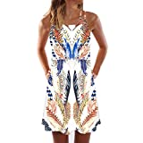 Younthone Women's Casual Dress Summer Sleeveless Butterfly Print Camisole Plus Size Loose and Comfortable Midi Skirt Beach Dress Everyday Party Dress