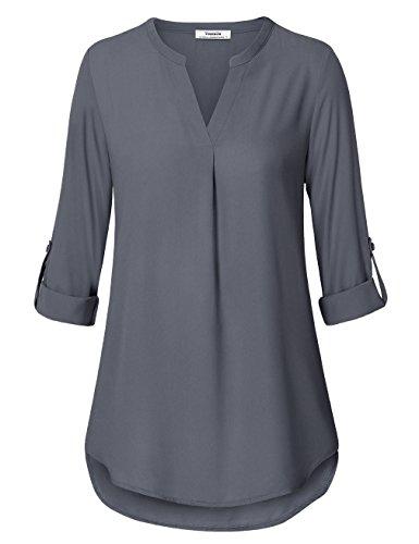 Youtalia Damen Freizeit Chiffon V-Ausschnitt Manschetten-Ärmel Locker Shirt Bluse Oberteile (Small, Grau) (Ärmel-schwarz-grau-shirt)