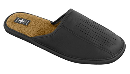 Chaussons pantoufles en cuir véritable pour homme avec semelles orthopédiques ou laine futter. couleurs différentes Noir - Schwarz (Wolle Futter)