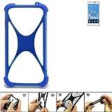 K-S-Trade Handyhülle für Gionee Elife S5.5 Silikon Schutz Hülle Cover Case Bumper Silikoncase TPU Softcase Schutzhülle Smartphone Stoßschutz, blau (1x)