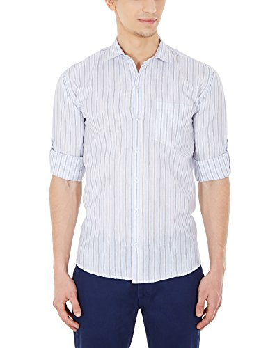 Blue Fire Men's Striped Full Sleeve Slim Fit Poly Cotton Casual Shirt (BF10050238)  available at amazon for Rs.349