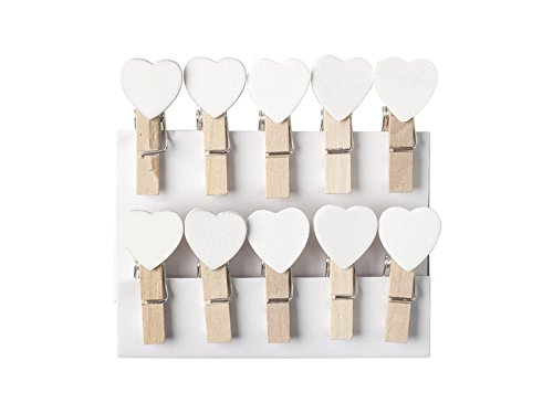 Clothes Pegs with Mini Heart Wooden White