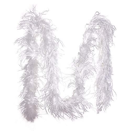 PANAX Federboa Weiß aus echten Straußenfedern in 200cm Länge - Ideal für Fasching, Karneval, Halloween, Tanz- Kostüme, Basteln, Burlesque, Varietee (Burlesque Kostüm Grüne)