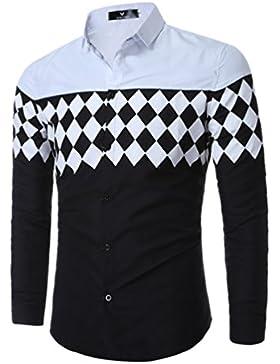 WanYang Uomo Moda Stampa Casuale Camicia Slim Shirts Geometrica Cool Camicia Da Uomo