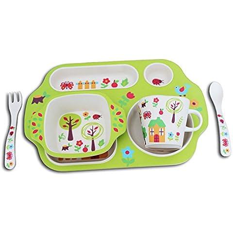 Bebé Tazón Cuchara de bebé Alimentación Complementaria Snack-Box, de dibujos animados sub-rejilla de comer del plato, cubiertos conjunto de fibra de bambú de los niños (una variedad de patrones opcionales) ( Color : C )
