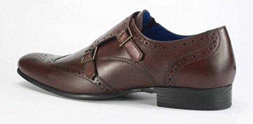 Red Tape Tempo richelieu en cuir à double boucle pour Chaussures formelles de moine Bordo Brown