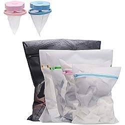 Vivifying Lot de 5 sacs à linge en maille fine durable avec fermeture Éclair et 2 sacs flottants pour machine à laver (blanc)