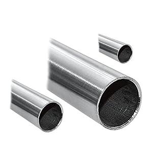 Edelstahlrohr V2A Edelstahl Geländer Rohr Rundrohr geschliffen Korn 240 - verschiedene Durchmesser und Längen- andere Längen bis 6 m auf Anfrage möglich (D=20x2 mm², Länge 1300 mm - 130 cm)