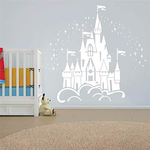 Vinyl Schöne Fee Schloss Kranker Für Kinderzimmer Dekoration Wandbild Mädchen Zimmer Aufkleber Wohnzimmer Schlafzimmer Spielzimmer 53x57 cm ()