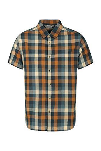Mountain warehouse camicia a maniche corte da uomo weekender - camicia estiva 100% cotone, camicia casual leggera, traspirante, comoda - da passeggio, campeggio, viaggio marrone scuro x-large