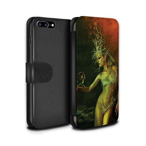Officiel Elena Dudina Coque/Etui/Housse Cuir PU Case/Cover pour Apple iPhone 8 Plus / Poussière de Lutin Design / Un avec la Nature Collection Reine des Forêts