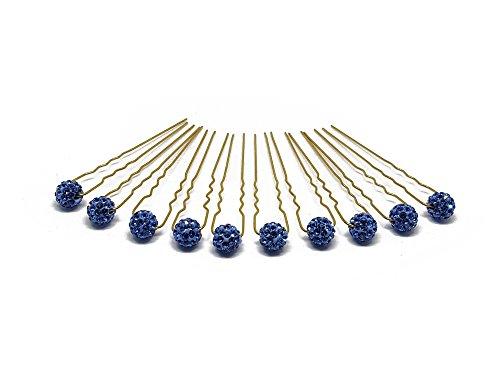 10 accessoires pour cheveux - boule/strass - pour coiffure de mariée - perle/épingle noire - Épingle à cheveux dorée - bleu