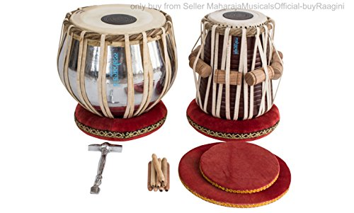 MAHARAJA Student Tabla Drum Set, Steel Bayan, Finest Dayan with Book, Hammer, Cushions & Cover, Anfänger / Schüler Tabla Schlagzeug (PDI-IB)