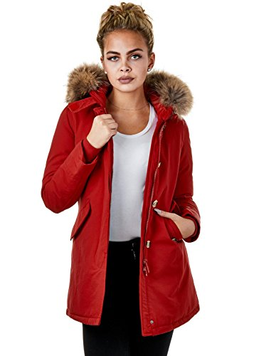 EightyFive Damen Winter-Jacke Echtfell Kapuze Schwarz Navy Khaki Rot Pink EFW27, Größe:XS, Farbe:Rot