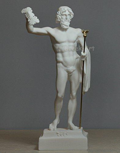 Alabaster Statue Griechisch römischen Gott Zeus Jupiter mit Thunder Skulptur Figur (Jupiter-statue)