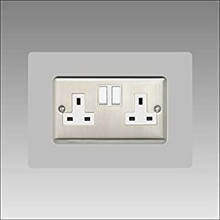 Double Socket Surround   Back Panel or Finger Plate   17 Colours + Clear (Black, Grey, White, Yellow, Clear, Ivory, Blue, Brown, Green) Square Acrylic Light Switch Plug, Font Colour:Grey