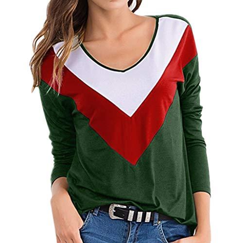 SoonerQuicker Mantel Damen Herbst Elegant Frauen Arbeiten Lange Hülsen Kontrast Farben Herbst runde Kragen T Shirts lose Oberseite um Grün M -